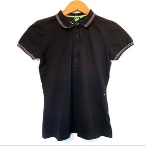 Hugo Boss fitted solid black stretch polo shirt